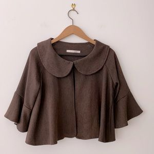 Brown Cropped Jacket Size M
